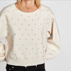 NWT ZARA Faux Pearl Soft Knit Sleeve Large Sweater